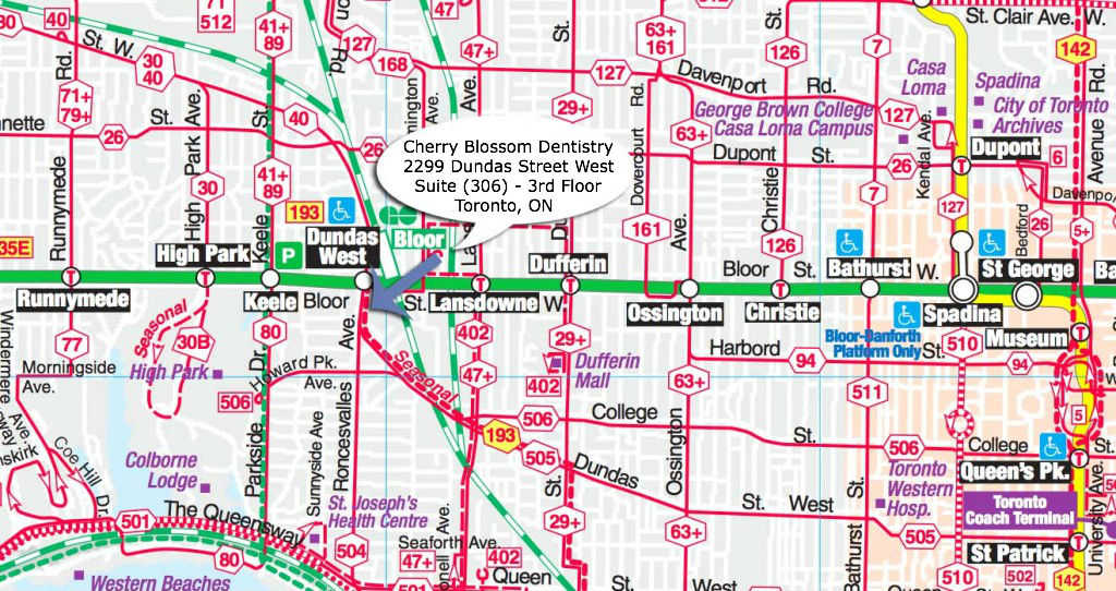 Toronto Subway Map With Streets.Cherry Blossom Dentistry Toronto Directions Cherry Blossom